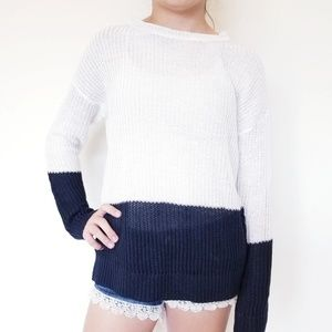 Vince Sweater Linen Knit Black White X Small